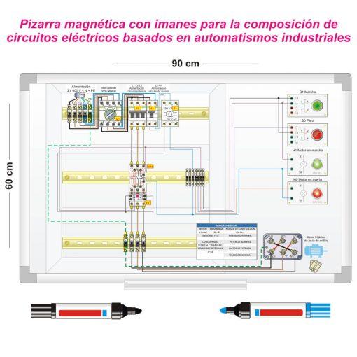Aulaelectrica.es - Pizarra magnética con juego de imanes para automatísmos industriales